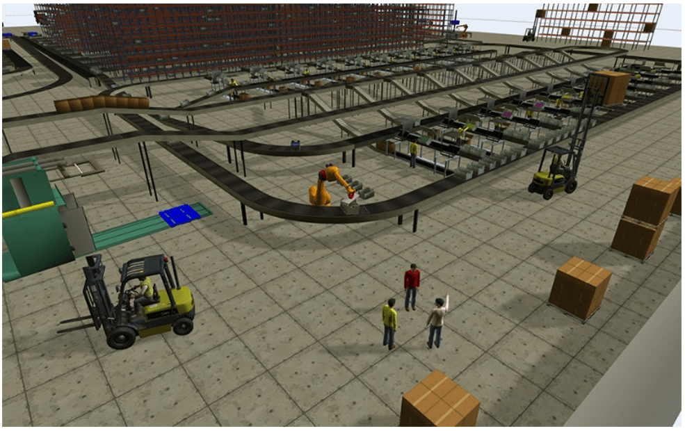 A 3D image of a factory interior in FlexSim